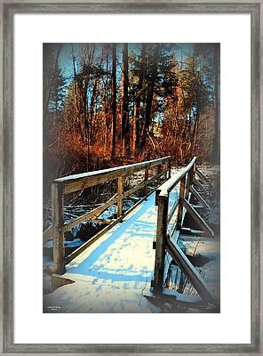 Winter Foot Bridge - Naramata Bc 02-28-2014 Framed Print by Guy Hoffman