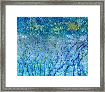 Winter Forest In Moonlight Framed Print