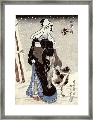Winter, From The Series Shiki No Uchi The Four Seasons Colour Woodblock Print Framed Print by Utagawa Kunisada