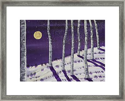 Winter Full Moon And Birch Trees  Painting Framed Print by Keith Webber Jr