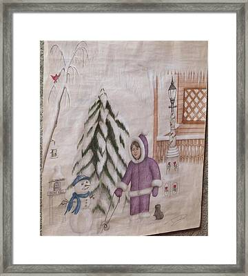 Winter Fun In Fort Hill Framed Print by Diane Mitchell