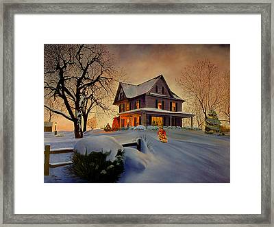 Framed Print featuring the painting Winter Fun by Rick Fitzsimons