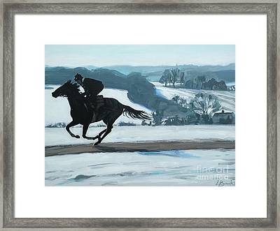 Winter Gallops Framed Print by Leigh Banks
