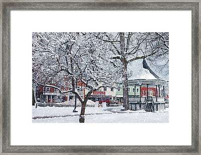Winter Gazebo Framed Print by Joann Vitali
