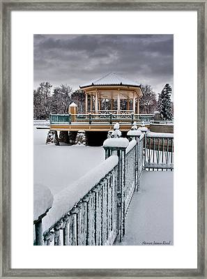 Framed Print featuring the photograph Winter Gazebo by Steven Reed