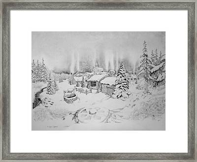 Framed Print featuring the drawing Winter by Geni Gorani