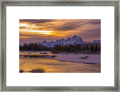 Winter Glow Over The Tetons Framed Print by Yeates Photography