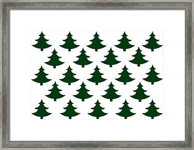 Winter Green Christmas Tree Framed Print by Chastity Hoff
