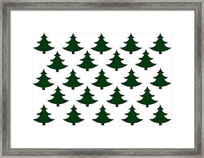 Winter Green Christmas Tree Framed Print