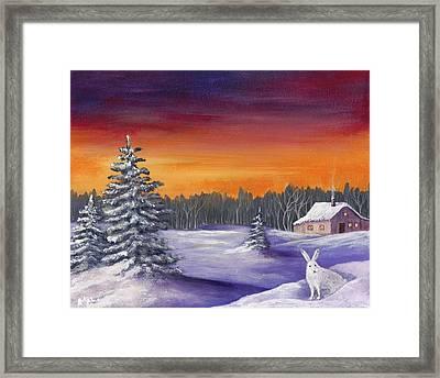 Winter Hare Visit Framed Print by Anastasiya Malakhova