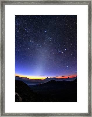 Winter Hexagon Over Maui Framed Print by Babak Tafreshi