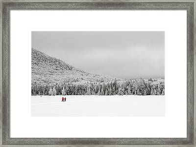 Winter Hikers On Lonesome Lake Framed Print