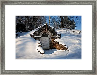 Winter Hobbit Hole Framed Print