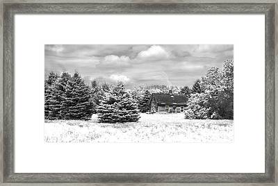Winter House On The Prairie Framed Print by John Hix