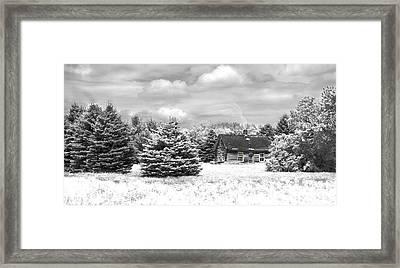 Winter House On The Prairie Framed Print