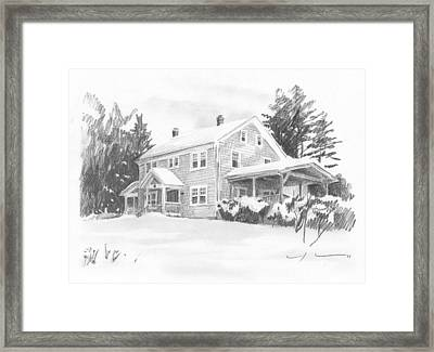 Winter House Pencil Portrait Framed Print by Mike Theuer