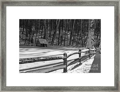 Winter Hut In Black And White Framed Print by Paul Ward