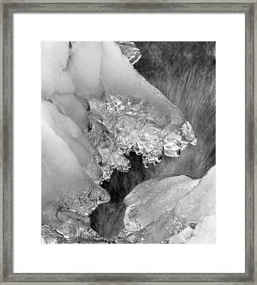 Winter Ice In Black And White Framed Print