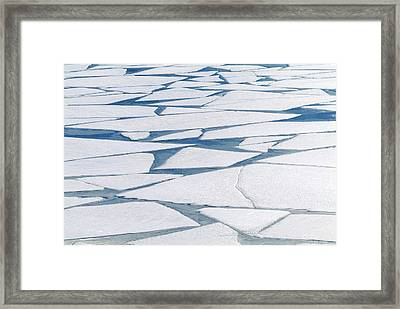 Winter Ice Layer On Portage Lake Framed Print by Randy Brandon