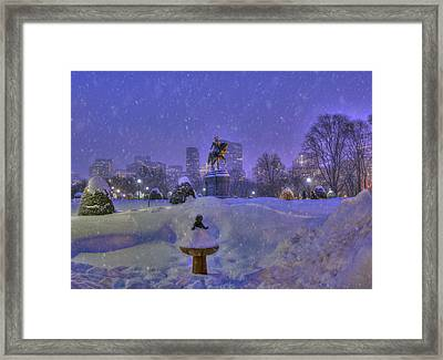 Winter In Boston - George Washington Monument - Boston Public Garden Framed Print