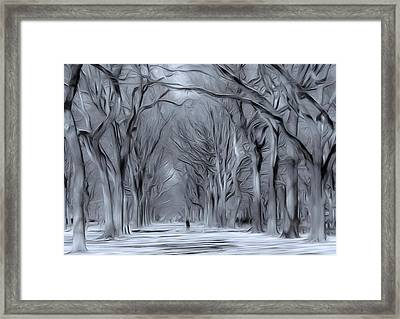 Framed Print featuring the digital art Winter In Central Park by Nina Bradica