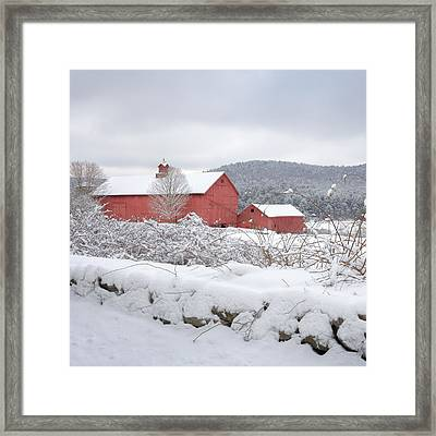 Winter In Connecticut Square Framed Print by Bill Wakeley
