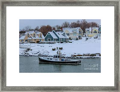 Winter In Perkins Cove Framed Print by Joe Faragalli