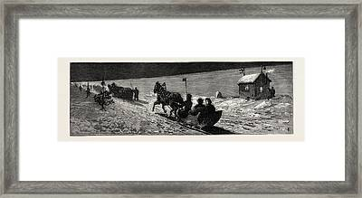 Winter In Russia The Road Across The Ice Between Cronstadt Framed Print by English School