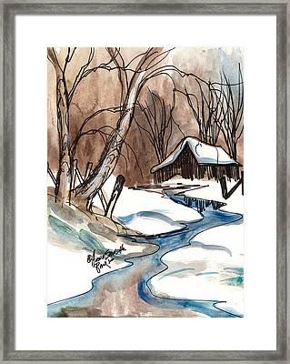 Winter In The Cabin Framed Print