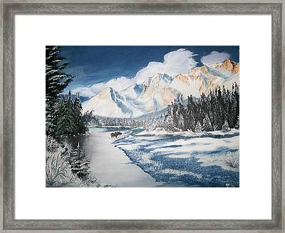 Framed Print featuring the painting Winter In The Canadian Rockies by Sharon Duguay