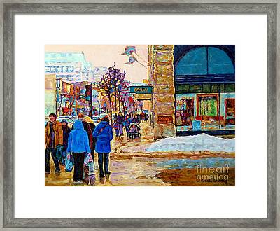 Winter In The City Downtown Montreal Stores Ogilvy Holt Renfrew Winter Street Scene C Spandau Art  Framed Print by Carole Spandau