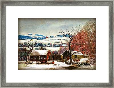 Winter In The Country Folk Art Framed Print by Lianne Schneider