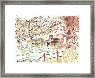 Winter In The Village Framed Print by Tracey Williams