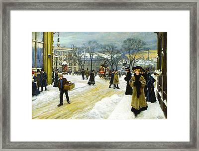 Winter Into Kongens Framed Print by Paul Gustav Fischer