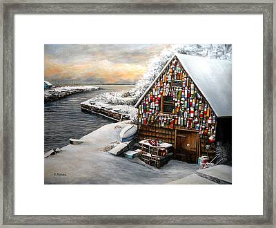 Winter Ipswich Bay Wooden Buoys  Framed Print