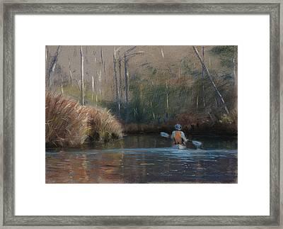 Winter Kayaker Framed Print