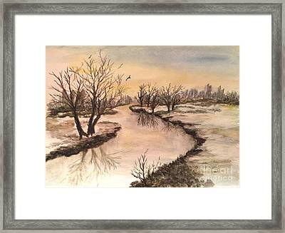 Winter Lake Scene Framed Print by Lucia Grilletto