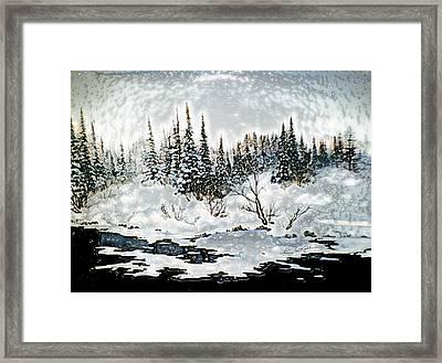 Winter Lake Sunset 2 Framed Print