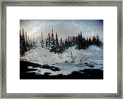 Winter Lake Sunset Framed Print