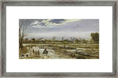 Winter Landscape, 1614 Framed Print by Esaias I van de Velde