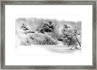 Winter Landscape Black And White Framed Print