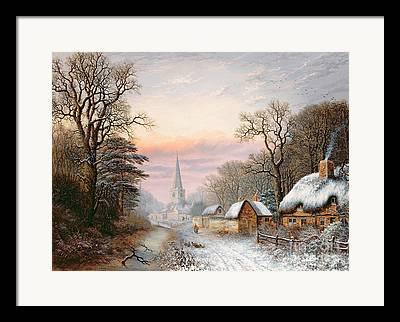 Snowy Brook Paintings Framed Prints