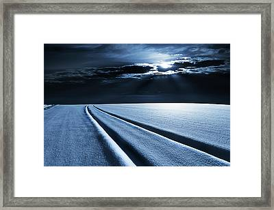 Winter Landscape In Moonlight Framed Print by Wladimir Bulgar