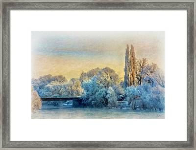 Winter Landscape With A Bridge Over The River Framed Print by Gynt