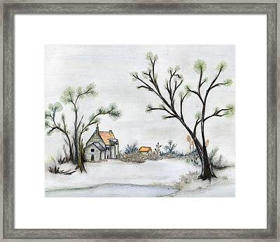 Winter Landscape With Cottage Framed Print by Christine Corretti
