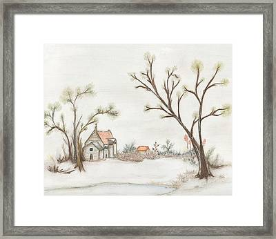 Winter Landscape With Cottage II Framed Print by Christine Corretti