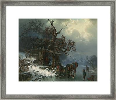 Winter Landscape With Figures On A Frozen River Framed Print by Heinrich Hofer