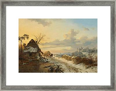 Winter Landscape With Horses And Carts Framed Print by Celestial Images