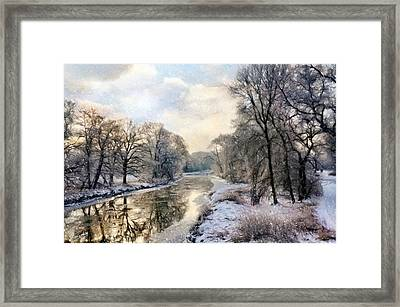 Winter Landscape With River Framed Print by Gynt