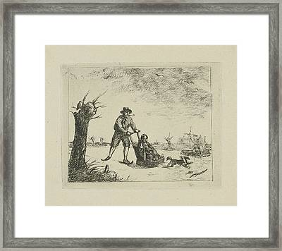 Winter Landscape With Skater, In The Background Are Two Men Framed Print